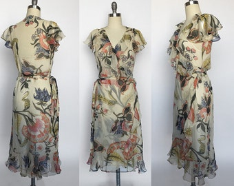 Vintage Ivory Silk Floral Wrap Dress // Lauren by Ralph Lauren // Medium Size 6