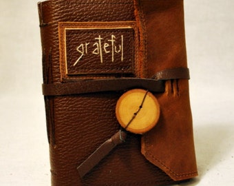 SUMMER SALE:  Grateful - Medium Leather Journal with Recycled Paper