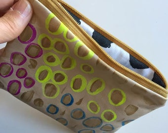 Abstract Dots Painted Leather Zipper Pouch, Hand Painted, Soft Lamb Leather, Linen/Cotton Lined Wallet