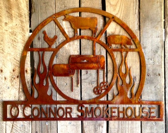 Metal Art Custom BBQ Sign with Personalized Text Field (F13)