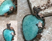 Huge Genuine Amazonite Gemstone Pendant Neckace,Ready to Ship, Marta Weaver Jewelry