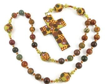 20% OFF Red Creek Jasper Anglican Rosary Prayer Beads Episcopal Polymer Clay Canework Protestant Handmade Cross Spirituality & Religion