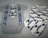 NFL Dallas Cowboys Baby Boy Tie Suspenders Onesie Bib Burp Cloth Football Team New Born Coming Home Hospital Baby Shower Gift Sz 0-3 Mo