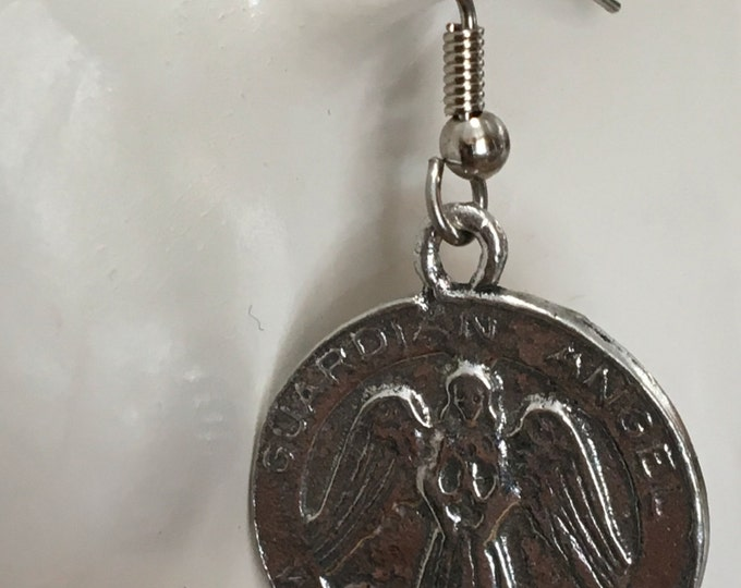 Guardian Angel watch over me earrings made with Australian Pewter