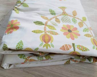 Vintage Queen Fitted Sheet American Treasures Collection Orange Green Floral Retro