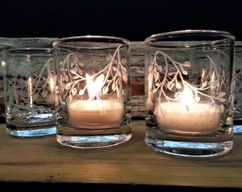 12 'Branches and Leaves' Clear Glass Votive Holders Wedding Favors