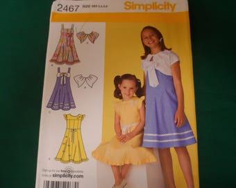 Simplicity 2467  Girl's  Dress Sundress Bolero Jacket Uncut