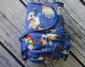 One Size Stay Dry Overnight Fitted Cloth Diaper in Rainbow Unicorn by Soothe Baby