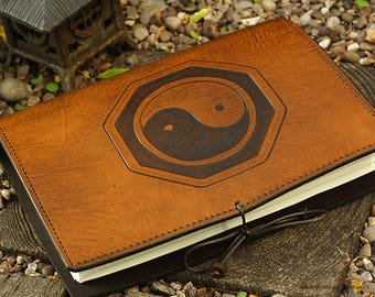 A5, Medium, Leather Bound Journal, Tai Chi Journal, Yin Yang Taoist, Martial Arts Journal, Brown Leather Notebook, Blank Book, Personalized.
