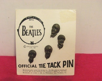 Vintage Beatles Tie Tack Pin Set on Original Card NOS  NEMS 1964 Official Beatles Tie Tacks Mint on Card