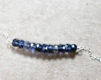 iolite bar pendant necklace.  14K gold filled chain. deep violet iolite gemstones bar necklace. minimalist iolite jewelry.  violet iolite