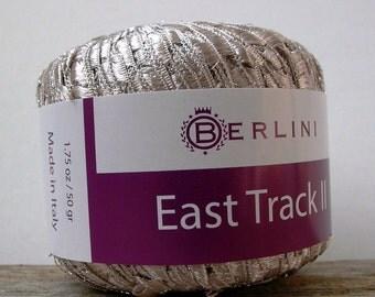 metallic champagne ladder yarn . enchanted 164 . berlini italian ribbon railroad novelty jewelry yarn . 98yds . pale gold silver taupe