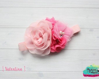 Baby headband { Valentina } pink, fushia, peach valentine headband, flower girl, first birthday cake smash photography prop