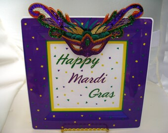 """Mardi Gras Party Decoration Centerpiece table decor Sign Display """" Happy Mardi Gras """" ball shower New Orleans theme party"""
