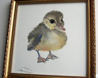 Duckling Watercolor Painting, Frame, Shabby Chic Decor, Duck