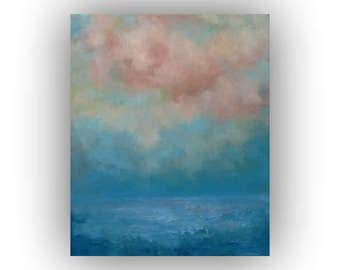 Abstract Seascape- Blue and Pink Ocean Sky and Clouds Oil Painting- 20 x 24 Original Palette Knife Art on Canvas
