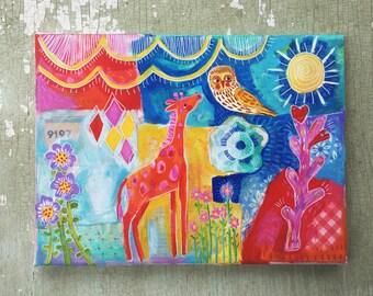 Small Mixed Media Painting on Canvas Nursery Decor