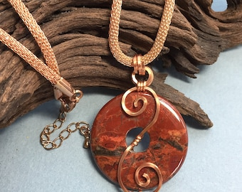 Red Jasper Donut with Copper Spirals pendant