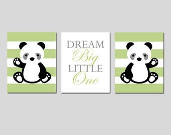 PANDA Nursery Art Panda Nursery Decor Panda Bear Nursery Art Dream Big Little One Quote Panda Nursery Set of 3 Prints - Choose Your Colors
