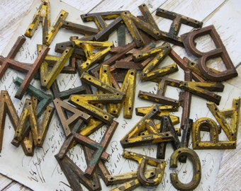 Vintage Metal Sign Letters (12) Altered Art Supply- Typography- Chipped Paint Letters Alphabet Letter- Initial- Monogram