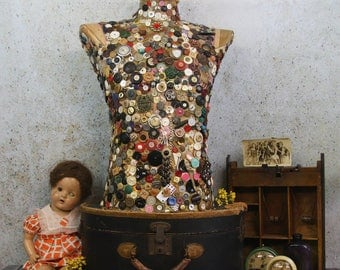 Vintage MANNEQUIN BUST Embellished with Buttons- Antique Dress Form- Display Piece- Encrusted Art Piece