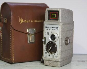 Vintage MOVIE CAMERA- Bell & Howell Sun Dial- Vintage 8mm Film- Camera Collection- Industrial Design- In Original Case- J30