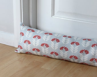 Draught Excluder Blue Floral Elderberry Fabric Scandi Long