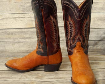 Tony Lama Cowboy Boots Mens Size 10.5 D Tan Brown Red Green Country Western Shoes