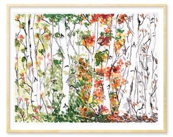 Birch Tree Print, Forest Landscape, Woodland Art, Four Seasons, Prints Illustrations, Living Room Art, Giclee Art Print, 8.5x11, 11x14