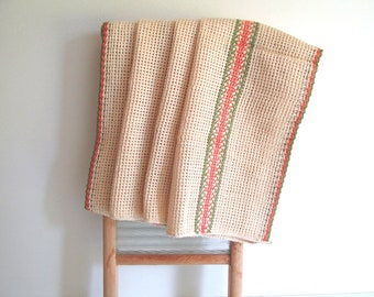 Four Vintage Heavy Duty Utility Cloths, Kitchen Towels, Natural Color with Green Orange Stripe