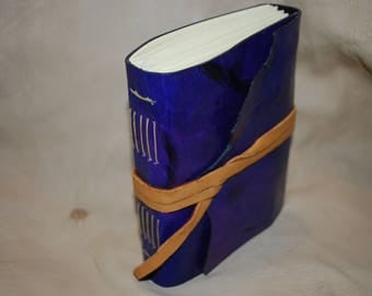 Purple leather journal hand dyed - great for travel stories, dreams and sketching (Small, pocket sized)
