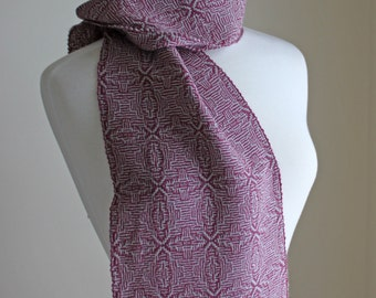 Mulberry and silver handwoven shadow weave alpaca silk scarf
