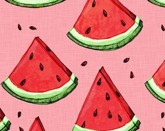 Watermelon Fabric - Watermelon On Pink (Texture) By Mulberry Tree - Watermelon Pink Cotton Fabric By The Yard With Spoonflower