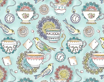 Tea Fabric - Afternoon Tea 50 Scale By Heatherdutton - Tea Cotton Fabric By The Yard With Spoonflower