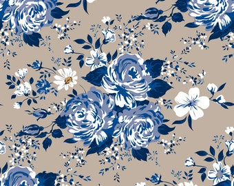 Blue Rose Fabric - Blue Roses Pattern By Ka Lou - Cottage Chic Floral Home Decor Cotton Fabric By The Yard With Spoonflower