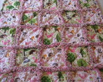 Forest Friends Rag Quilt Baby Girl Shower Gift Crib Blanket Stroller Blanket  Baby Girl Rag Quilt Blanket 35x35