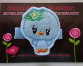 Bird Hair Accessories - Felt Hair Clips - Light Blue Embroidered Boutique Spring Garden Birdie Girl With A Mint Green Flower Hair Clippie