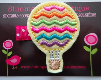 Hot Air Balloon Felt Hair Clip - Light Yellow Embroidered Felt Hot Air Balloon With Rainbow Zigzag / Chevron Stripes Hair Clippie For Girls