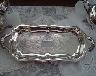 Lovely Leonard Oblong Footed Silver Plate Serving Tray, Silver, 1920s, 1930s, Fancy Serving Tray, Dresser Tray, Embossed