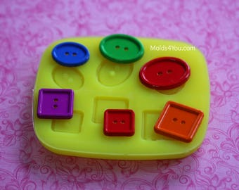 Silicone Button Mold Oval Square Button Polymer Clay Soap Button Mold Resin Mold Chocolate Mold