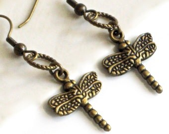 Small Dragonfly Earrings - Dragonfly Jewelry, Nature Jewelry, Brass Dragonfly Earrings