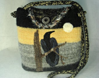 Felted Purse, Felted Handbag, Felted Tote, Raven and the Moon, Raven Art, Crow Art