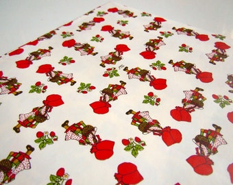 Vintage 1978 Retro Holly Hobbie Wrapping Paper | Red and White Gift Wrap | Birthday Any All Occasion Gift Wrap Paper
