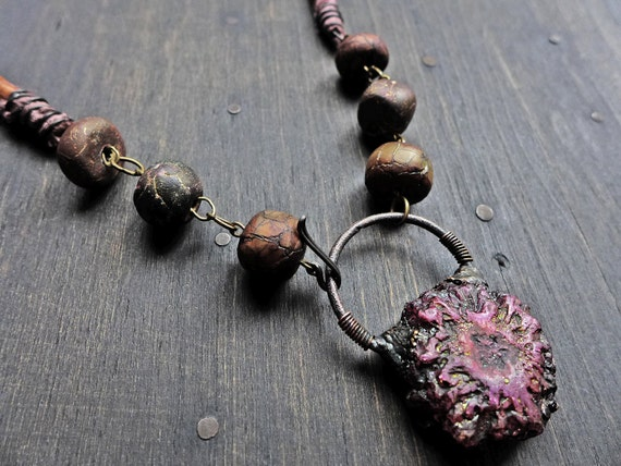 "Dark chunky rustic necklace with electroformed stalactite by fancifuldevices - ""Sister of Stones"""