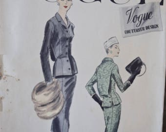 "RARE 1950s Vogue 929 Vogue Couturier Design Sewing Pattern Fitted Jacket and Slim Skirt UNCUT Factory Folds with Woven Label 32"" Bust"