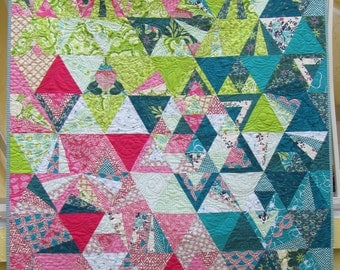 "Equilateral Triangles Quilt - Child's or Throw quilt - 47"" x 58"" - Teal, acid green, pink, white"
