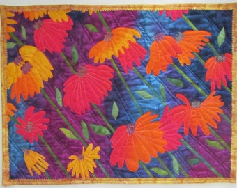 Echinacea / Coneflower Quilted wall hanging