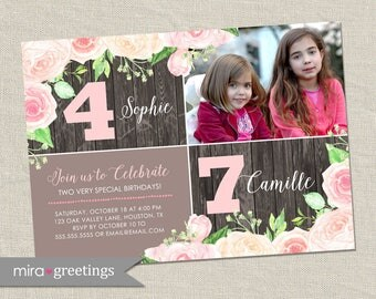 Double Birthday Party Invitation - sisters joint party invite - roses dual birthday party - Twins birthday party  (printable digital file)
