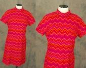 Clearance Sale vintage 60s Psychedelic Wool Shift Dress - 1960s Zig Zag Red Orange Turtleneck Dress Sz L