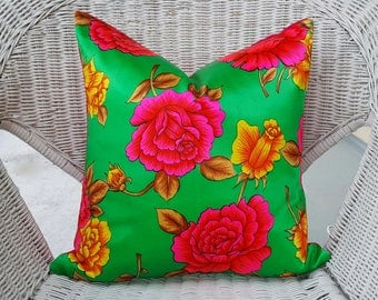 Eclectic Pink Green Floral Pillow, Satin Cushion Covers, Vintage Floral Pillows, Hollywood Regency Pillows, Asian, Bohemian, 16x16 18x18 NEW